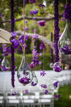 hanging decorations, wedding ideas, weddings, wedding stuff, purple flowers, hanging flowers, glass, purple wedding, stuff i like