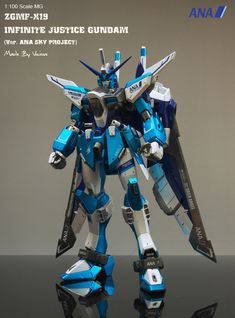 MG 1/100 ZGMF-X19A Infinite Justice Gundam Ver. ANA Sky Project Titanium Finish: (New Work) Modeled by  비셔스 (vicious1999). Full Photoreview Wallpaper Size Images