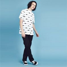 Custom printed white cotton T-shirt featuring Lazy Oaf's signature eye motif