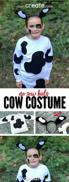 No Sew Kids Cow Costume This No Sew Kids Cow Costume is easy to make and comes together in only a few hours! via Craft Create Cook Farm Costumes, Animal Costumes For Kids, Nativity Costumes, Costumes Kids, Fancy Dress For Kids, Kids Dress Up, Kids Cow Costume, Animal Halloween Costumes, Carnival