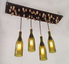 Recycled Wine Bottle Chandelier Rustic Chandelier by RehabStyle, $389.00 #rusticchandelier #recycledwinebottle