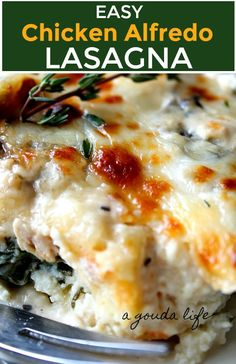 Chicken Alfredo Lasagna ~ layers of pasta, chicken, 2 kinds of cheese + creamy Alfredo sauce with spinach and mushrooms. Easy make ahead or freezer-friendly recipe! Chicken Spinach Lasagna, Spinach Stuffed Chicken, Baked Chicken, Chicken Recipes, Oven Ready Lasagna, Spinach Stuffed Mushrooms, Casserole Recipes, Chicken Casserole, Alfredo Sauce