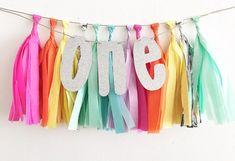 One Glitter Tissue Tassel Banner First Birthday Decor High Chair Banner First Birthday High Chair Banner Rainbow Party Rainbow 1st Unciorn