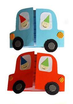 "Invitation to the birthday party of the child ""Auto"" - Einladung Kindergeburtstag - Preschool Crafts, Preschool Activities, Diagrammes Origami, Diy For Kids, Crafts For Kids, Birthday Cards For Boys, Fathers Day Crafts, Toddler Crafts, Kids Cards"