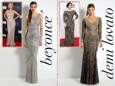 Beyoncé  Take notes, Beyhive, because we are crazy in love with this ensemble!  While Mrs. Knowles-Carter is truly one of a kind, the sleeveless style, illusion bodice, and head-to-toe silver sparkle on her red carpet gown had us seeing double!  Embody the pop diva at your next special occasion by slipping on this glowing beaded mesh dress that effortlessly mirrors the star's gown at HBO's Life is But a Dream event.  Because when life hands you lemons, do as Queen Bey and make some (very…
