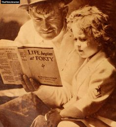 Will Rogers reads to Shirley Temple.  jesciexvegan:    thefilmlibrarian: Will Rodgers reads to Shirley Temple~Our Library  They spelled Ends wrong didn't they, Vulpecula?