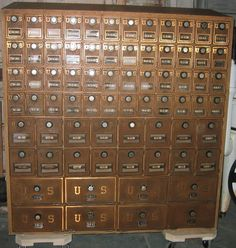 Antique POst Office Box. I would love this in my home. Nothing ...
