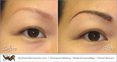 """Here is a """"Before and After"""" picture of our Feather-Stroke Eyebrow permanent makeup procedure. Interested in permanent makeup? Give us a call at (281) 812-6145."""