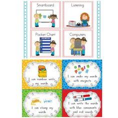 Literacy Rotation Visuals Pocket Chart Activity Cards - http://www.teacherspayteachers.com/Product/Literacy-Center-Pocket-Chart-Cards-316087 Writers Workshop Activity Cards - http://www.teacherspayteachers.com/Product/Word-Work-Task-Cards-Recording-Sheets