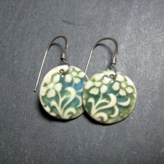 Violet Porcelain Earrings In  Sea Blue With by PhenixPottery, $14.00