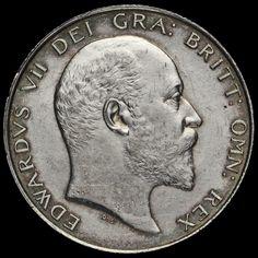1902 Edward VII Silver Half Crown, A/UNC