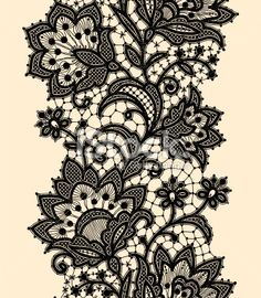 Vertical Seamless Pattern Black Lace Royalty Free Stock Vector Art Illustration