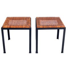 Pair of Iron and Reed California Modern Stools by Danny Ho Fong | From a unique collection of antique and modern benches at http://www.1stdibs.com/furniture/seating/benches/
