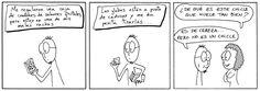 Tira cómica sobre condones con sabores a fruta.