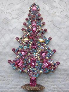 AMAZING VINTAGE COLORED CZECH RHINESTONE CHRISTMAS TREE STANDING