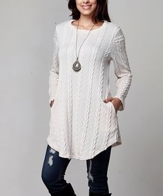 Take a look at this Cream Cable Knit Pocket Tunic – Plus today!