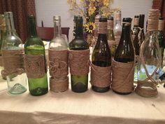 Jute-wrapped wine bottles