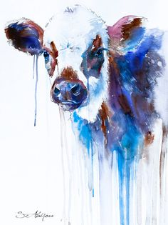 "Cow watercolor  painting print 8"" x 12"" ,  animal, illustration, animal watercolor, animals paintings, animals, portrait,  farm"
