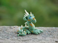 Cute Dragon Figurine, polymer clay dragon, jade dragon, Tiny Dragon Sculpture, dragon miniature, dragon totem, OOAK whimsical fantasy art