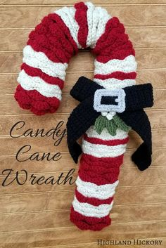 Candy Cane Wreath - Highland Hickory Designs - Free Crochet Pattern Crochet the Candy Cane Wreath with this easy and free pattern! It's great for Christmas decorating or gift giving. Perfect home or office holiday decor. Crochet Christmas Wreath, Crochet Wreath, Christmas Crochet Patterns, Holiday Crochet, Easy Crochet Patterns, Crochet Gifts, Free Crochet, Christmas Wreaths, Christmas Decorations