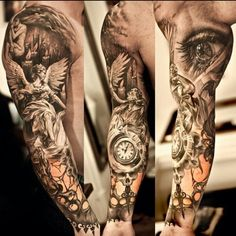 Great detail.. full arm sleeve.. Black and gray tattoo... clock, Angel, eye... by Swedish ink master Niki Norberg