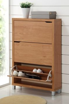 Simms 3 Drawer Modern Shoe Cabinet - Maple by W.I. Modern Furniture on @HauteLook