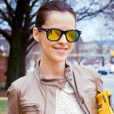 Flat Matte Black Revo Color Lens Wayfarer Sunglasses 8025