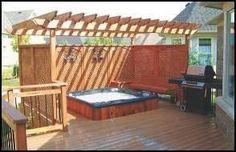 backyard hot tub ideas   nice deck hot tub would be nice too.   Backyard Entertaining Ideas