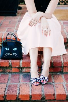 Kate Spade striped heels & cat purse
