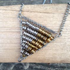 Guitar String Necklace Geometric Jewelry Triangle Pendant by LuckyStrings, $35.00