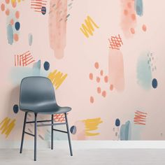 Blue and Pink Paint Brush Strokes Abstract Wallpaper Mural Dining Room Wallpaper, Wall Wallpaper, Mural Art, Wall Murals, Peach Paint, Bedroom Decor, Wall Decor, Watercolor Wallpaper, Designer Wallpaper