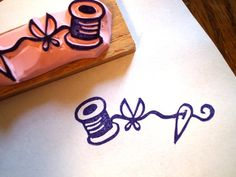 Sewing set  hand carved rubber stamp by HappieStamps