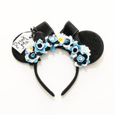 Alice Mouse Ears Headband, Drink Me Mouse Ears, Wonderland Ears, Alice... (89 BRL) ❤ liked on Polyvore featuring accessories, hair accessories, disney, flower hair accessories, hair band headband, head wrap headbands, hair band accessories and flower headwrap
