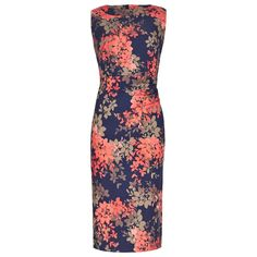 Navy, Coral & Stone Floral Ombre Print Bodycon Dress