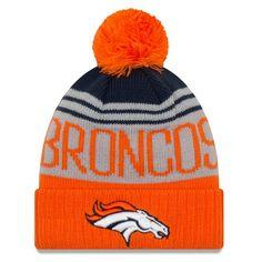 44e3d3695 Men s Denver Broncos New Era Gray Orange Team Pride Cuffed Knit Hat with Pom