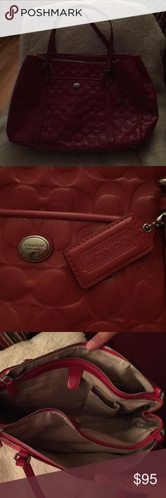 COACH red patent multi pocket handbag COACH red patent handbag. Gorgeous with silver trim. 2 small scuffs as shown on front of bag. Perfect bottom with feet. A lot of pockets and storage. Coach Bags Shoulder Bags