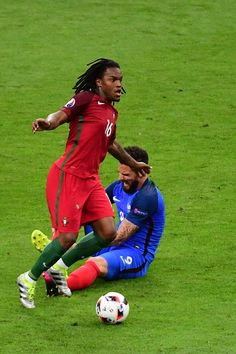 #EURO2016 Renato Sanches of Portugal and Olivier Giroud of France during the European Championship Final between Portugal and France at Stade de France on July...