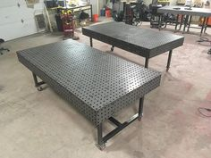 Fabrication table, fixture block, welding bench, slot and tab tables Modern Headboard, Headboard And Footboard, Metal Furniture, Furniture Design, Outdoor Furniture, Industrial Furniture, Large Table, Small Tables, Welding Bench
