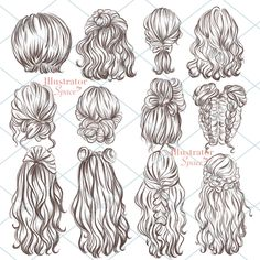 Glitter Mermaid Clipart, Mermaid Scrapbook, Sea Underwater Clip Art By Personal Epiphany Pencil Art Drawings, Art Drawings Sketches, Hair Drawings, Girl Hair Drawing, Illustration Sketches, Long Hair Drawing, Drawing Faces, Watercolor Hair, Hair Clipart