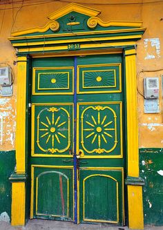 Decorative green and yellow door from Colombia
