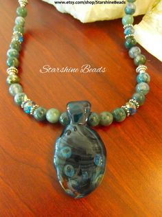 Moss Agate Lampwork Necklace  Moss Agate by StarshineBeads on Etsy