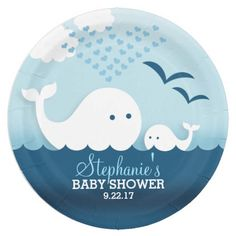 Whimsical Whales (boy) Baby Shower 9 Inch Paper Plate