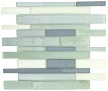 """Glass Backsplash Tile Ocean Brick mesh mounted on a 12""""""""x12"""""""" sheet for kitchen backsplash, bathroom, shower and featured wall. This rich and colorful yet harmonious glass tile pairs with contemporary"""