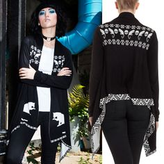Jawbreaker Baggy Cardigan with Cat and Skull Pattern - £27.99 : From ANGEL CLOTHING