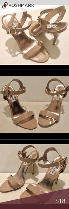 Steve Madden Nude Sandals Great nude sandals. A must for every closet,they go with everything. I wore them once only since they were too big for me, so they are gently used. The heels are about 4 1/2 inches tall. Steve Madden Shoes Sandals