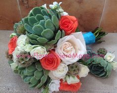 #succulents #coral roses #boutonniere Wedding flowers Cancun and #RivieraMaya
