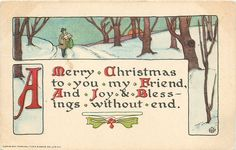 A MERRY CHRISTMAS TO YOU MY FRIEND, AND JOY & BLESSINGS WITHOUT END rural winter inset - TuckDB