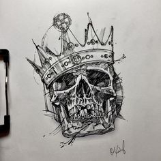 quick drawing for work Tattoo Design Drawings, Skull Tattoo Design, Skull Tattoos, Tattoo Sketches, Body Art Tattoos, Art Sketches, Sleeve Tattoos, Tattoo Designs, Ink Tattoos