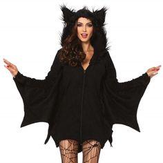 Cozy Bat vleermuis fleece korte jurk kostuum zwart - Kostuum Party Halloween