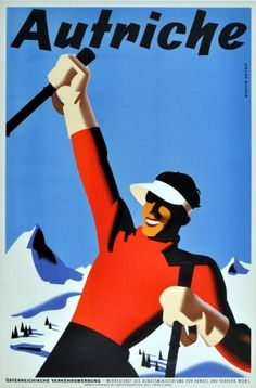 For Sale on - Original Vintage Winter Sport Skiing Poster For Autriche Austria Skier Mountains, Paper by Atelier Binder. Offered by Antikbar Limited. Ski Vintage, Party Vintage, Vintage Ski Posters, Vintage Advertising Posters, Vintage Advertisements, Vintage Graphic, Unique Vintage, Vintage Decor, Ski Austria